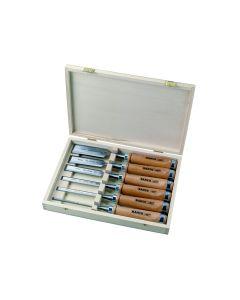 Puidust käepidemega peitlite kmpl 6, 10, 12, 18, 25 ja 32mm 6 osa puidust karbis