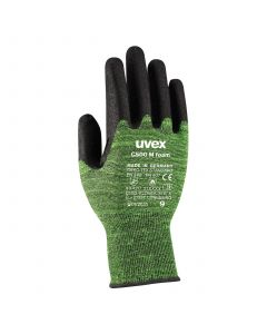 Safety gloves Uvex C500 M Foam, cut level C/5, contact heat resistance to 100*C, green, size 8