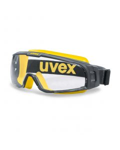 Safety goggles with perfect fit Uvex U-sonic, clear lens, supravision extreme (anfi scratch, anti fog) coating, reduced ventilation, grey/yellow. Rubber strap. Impact class B.
